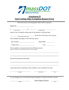 Attachment D Steel Cutting Edge Exemption Request Form Depot No.