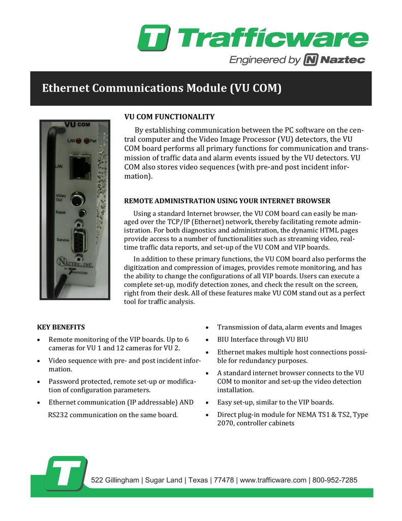 Ethernet Communications Module (VU COM)