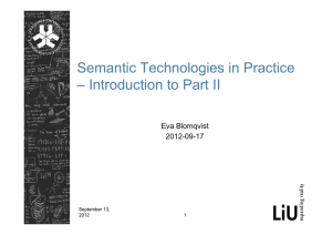 Semantic Technologies in Practice – Introduction to Part II Eva Blomqvist 2012-09-17