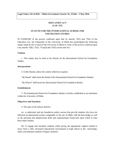 Legal Notice 143 of 2016 – Malta Government Gazette No....  EDUCATION ACT (CAP. 327)