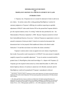 MEMORANDUM OF DECISION ON TROPEANO'S MOTION TO AMEND STATEMENT OF CLAIM