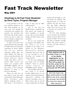Greetings to All Fast Track Students! by Dena Taylor, Program Manager