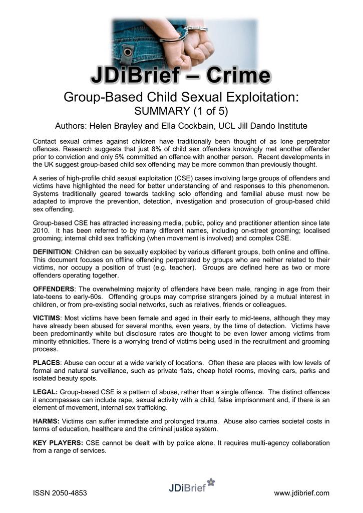Crime JDiBrief Group-Based Child Sexual Exploitation: