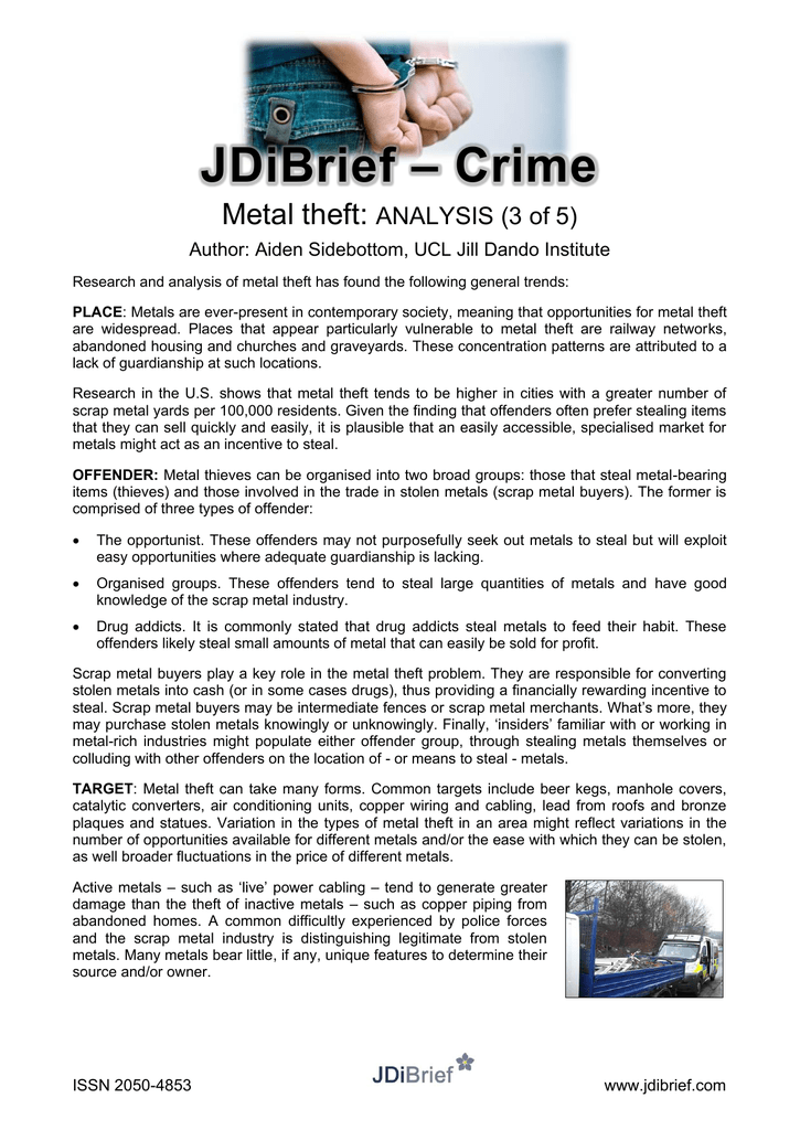 Crime JDiBrief Metal theft:
