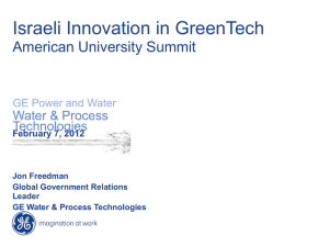 Israeli Innovation in GreenTech American University Summit  Water & Process