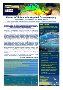 Master of Science in Applied Oceanography Operational Oceanography and Marine Studies