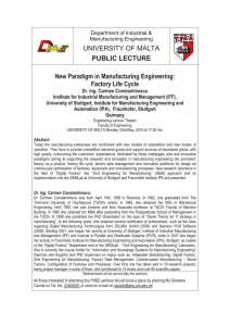 UNIVERSITY OF MALTA PUBLIC LECTURE  New Paradigm in Manufacturing Engineering: