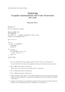 Compiler Optimizations and Code Generation Given the following C module:
