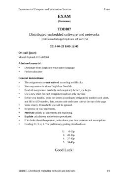 EXAM TDDI07 Distributed embedded software and networks 2014-04-25 8:00-12:00