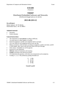 EXAM TDDI07 Distributed Embedded Software and Networks