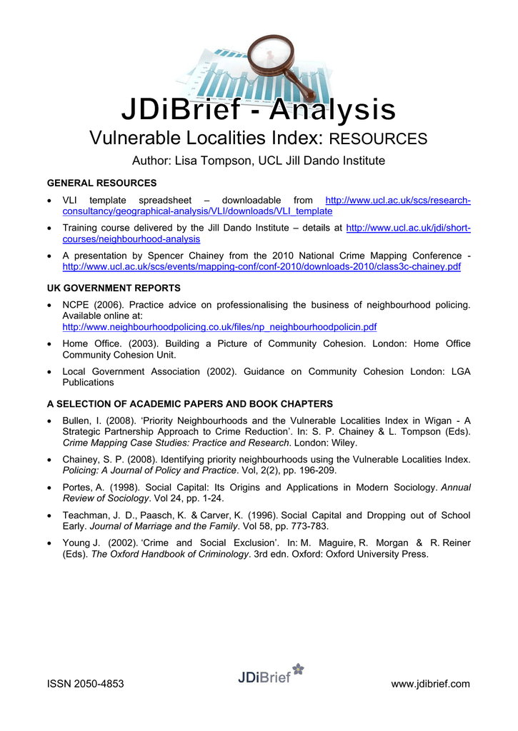 Vulnerable Localities Index: RESOURCES Author: Lisa Tompson