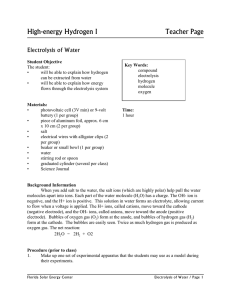 High-energy Hydrogen I  Teacher Page Electrolysis of Water