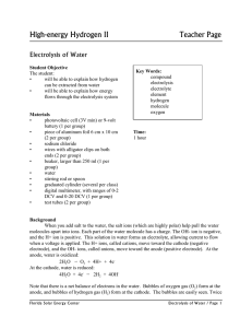 High-energy Hydrogen II  Teacher Page Electrolysis of Water