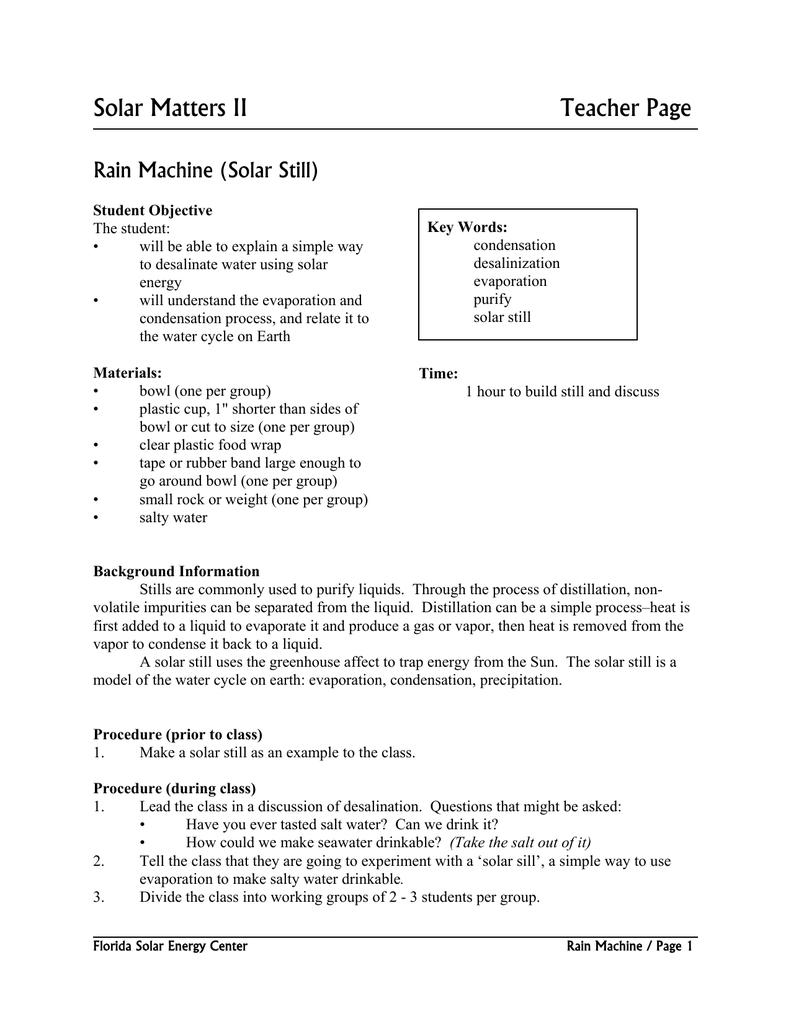 Solar Matters II Teacher Page Rain Machine (Solar Still)