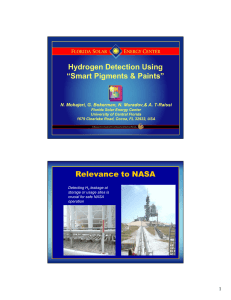 "Hydrogen Detection Using ""Smart Pigments & Paints"" Relevance to NASA 1"