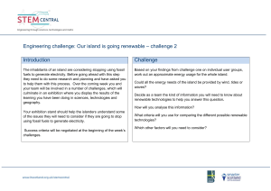 Engineering challenge: Our island is going renewable – challenge 2  Introduction Challenge