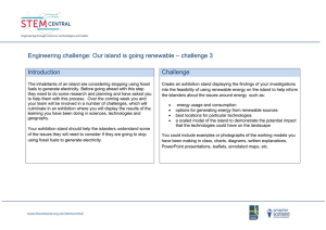 Engineering challenge: Our island is going renewable – challenge 3  Introduction Challenge