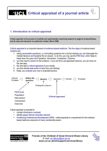 Critical appraisal of a journal article 1. Introduction to critical appraisal