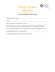 Energy Transfer Machine  Design Form & Photo