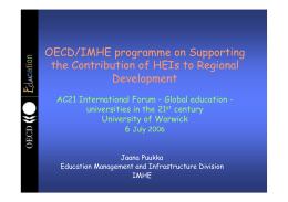 OECD/IMHE programme on Supporting the Contribution of HEIs to Regional Development