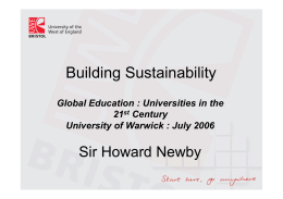 Building Sustainability Sir Howard Newby Global Education : Universities in the 21