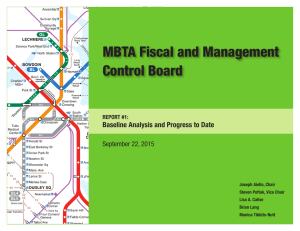 MBTA Fiscal and Management Control Board Baseline Analysis and Progress to Date
