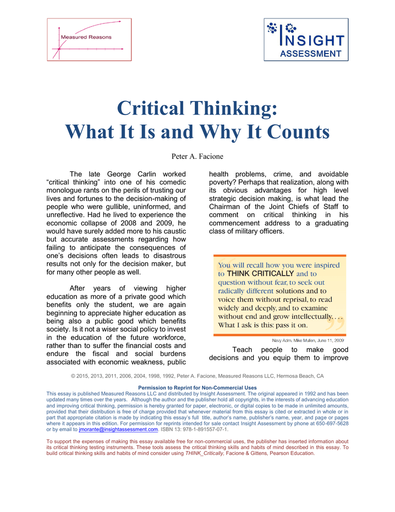 critical thinking peter facione