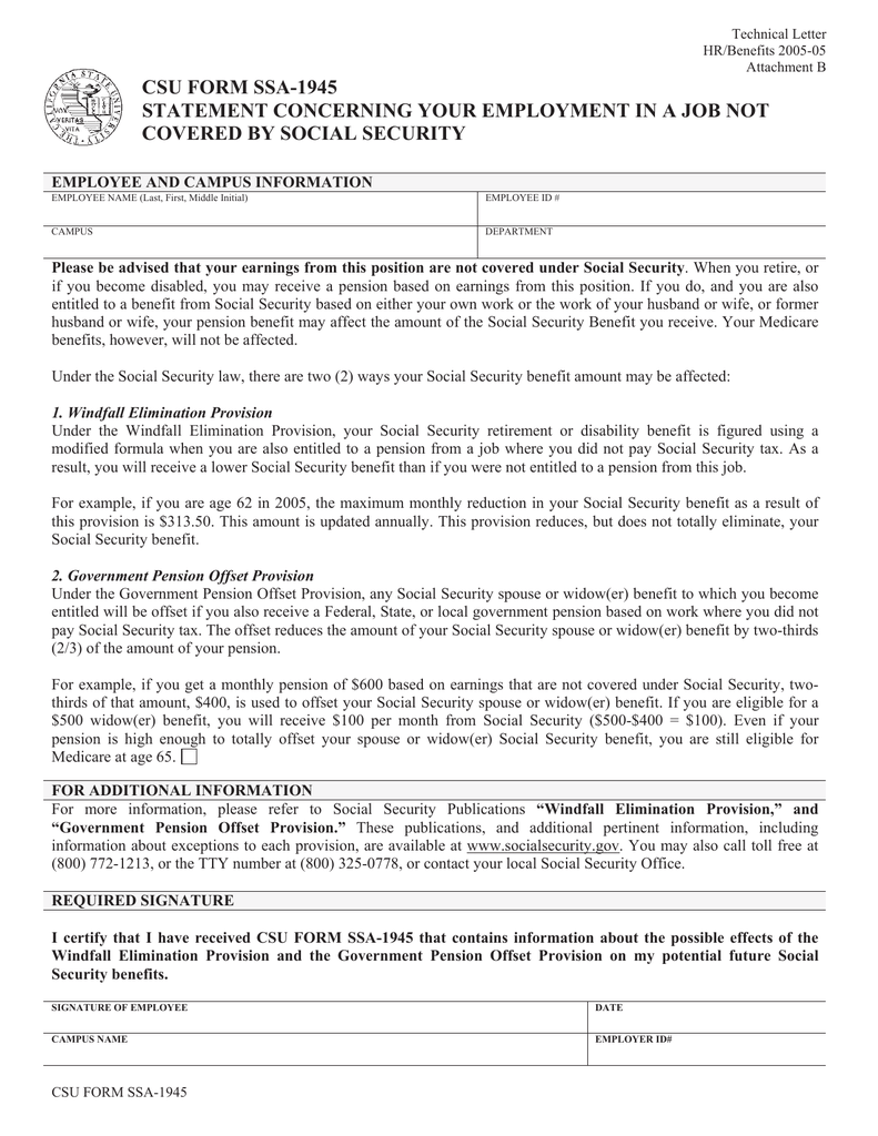 Social Security Letter Of Benefits.Csu Form Ssa 1945 St Statement Concerning Your Employment In