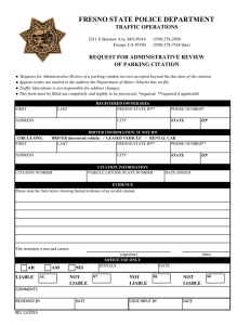 FRESNO STATE POLICE DEPARTMENT TRAFFIC OPERATIONS REQUEST FOR ADMINISTRATIVE REVIEW OF PARKING CITATION