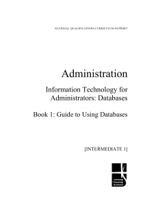 Administration Information Technology for Administrators: Databases