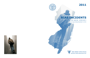 2011 BIAS INCIDENTS NEW JERSEY STATE POLICE