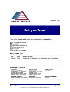 Policy on Travel AUXILIARY SERVICES