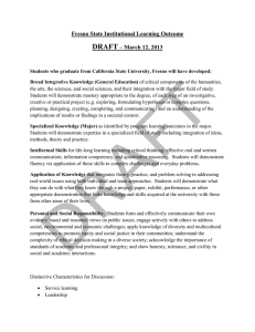 DRAFT Fresno State Institutional Learning Outcome – March 12, 2013