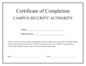 Certificate of Completion CAMPUS SECURITY AUTHORITY  Name________________________________