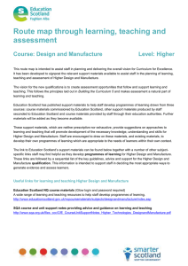 Route map through learning, teaching and assessment  Course: Design and Manufacture