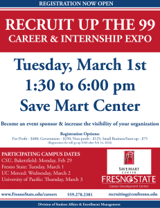 Tuesday, March 1st 1:30 to 6:00 pm Save Mart Center