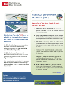 AMERICAN OPPORTUNITY TAX CREDIT (AOC) FEDERAL TAX CREDITS