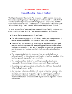 The California State University Student Lending – Code of Conduct