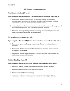 GE Student Learning Outcomes  Oral Communication (Area A1)