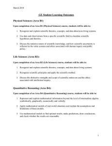GE Student Learning Outcomes  Physical Sciences (Area B1)