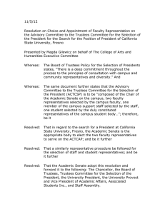 11/5/12 Resolution on Choice and Appointment of Faculty Representation on