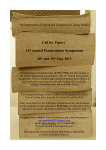 Call for Papers 11 Annual Postgraduate Symposium 28