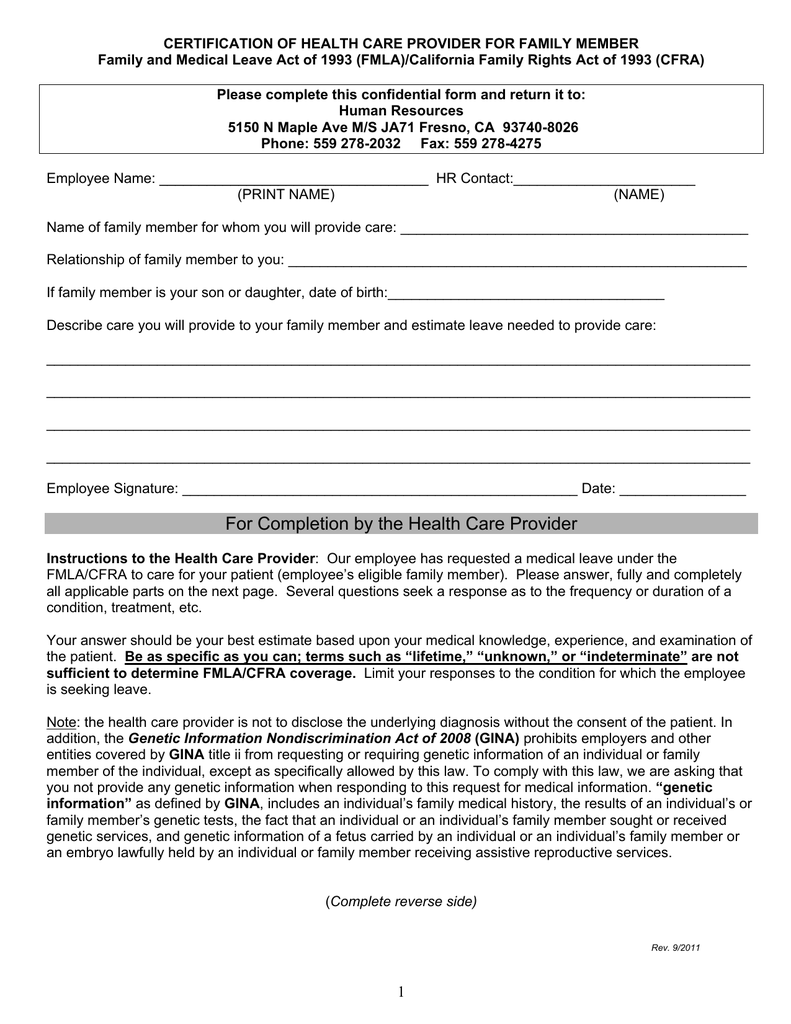 Fmla Certification Form For Family Member Choice Image Form Certification  Of Health Care Provider For Family