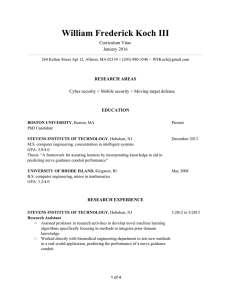 William Frederick Koch III    Curriculum Vitae  January 2016
