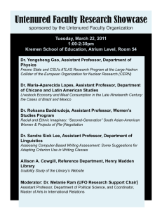 Untenured Faculty Research Showcase sponsored by the Untenured Faculty Organization