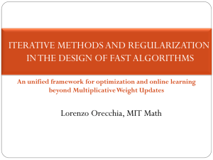 ITERATIVE METHODS AND REGULARIZATION IN THE DESIGN OF FAST ALGORITHMS