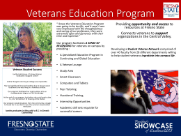 Veterans Education Program opportunity and access resources at Fresno State