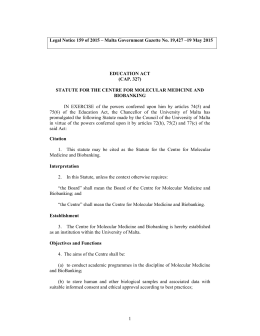 Legal Notice 159 of 2015 – Malta Government Gazette No....  EDUCATION ACT (CAP. 327)