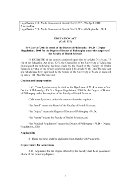 Legal Notice 210 - Malta Government Gazette No.18,577 – 9th... Amended by: