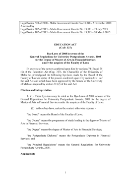 Legal Notice 320 of 2008 - Malta Government Gazette No.18,348 -... Amended by